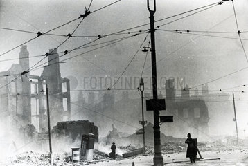 Derby Square in Liverpool after a German bombing raid  1940s.