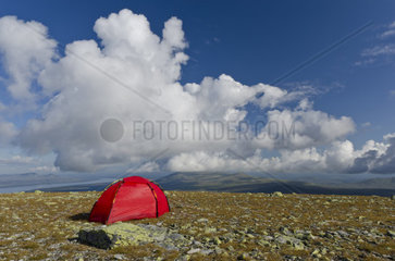 Zelt auf dem Berg Elgahogna mit dem See Femunden  Femundsmarka Nationalpark  Hedmark Fylke  Norwegen  Juli 2011