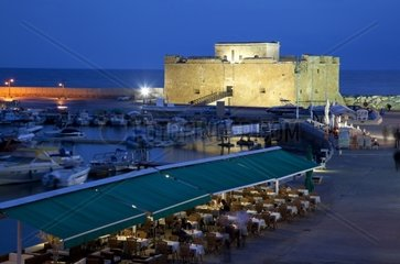 Cyprus  Paphos  Castle and Harbour Restaurants at Night