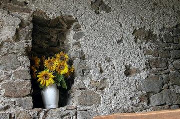 Blumenvase in einer Mauernische
