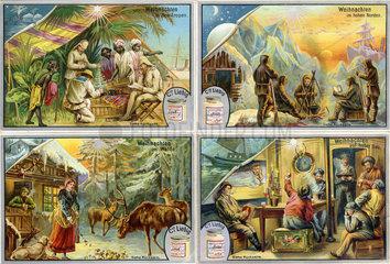 Weihnachten feiern in der Fremde  Liebig-Bilder  1895