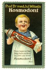 Zahncreme Kosmodont  Reklamemarke  1913