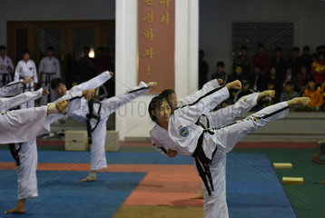 DPRK-PYONGYANG-TAEKWONDO-PERFORMANCE
