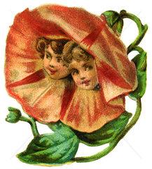 Blumenbluete mit Kindern  1895