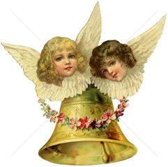 Weihnachtsengel mit Glocke  Oblate  1903