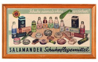 Salamander Schuhpflegemittel  Werbetafel  um 1956
