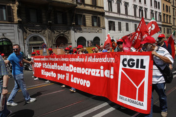 CGIL Demonstration gegen die Voucher in Rom