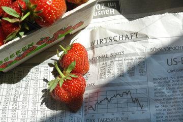 Erdbeeren und Boersenbericht