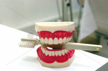 Zahnersatz mit Zahnbuerste