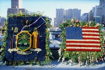 Ground Zero  memorial flowers  New York  USA