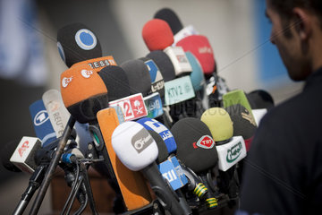 Microphones at a press conference in Gaza  14.06.2011