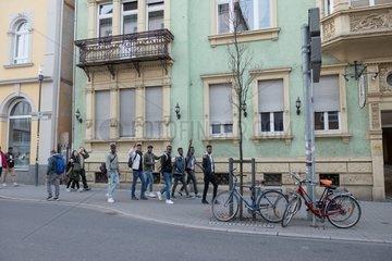 Multicultural city space sidewalk.