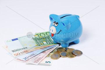 blaues Sparschwein mit Euro Scheinen und Euro Muenzen