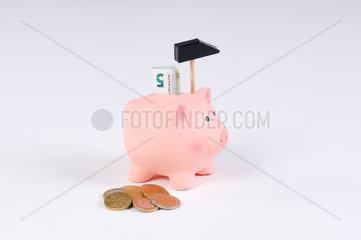 rosa Sparschwein mit Hammer Euro Muenzen und 5 Euro Schein
