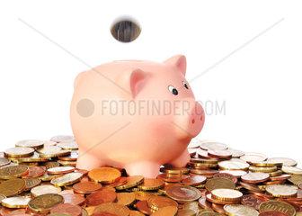 Sparschwein mit fallender Euro Muenze in einer Flaeche aus Euro Muenzen vor weissem Hintergrund
