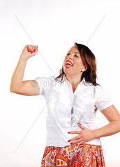 woman to cheer with uplifted arm