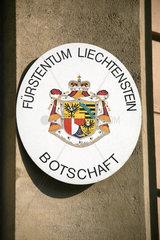 Liechtenstein Botschaft-Tafel