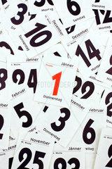 Einzelne Blaetter eines Tages Kalenders