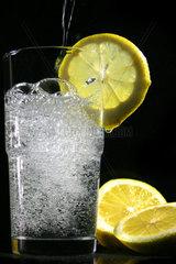 Glas mit Wasser und Zitronenscheibe