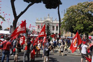 CGIL Demonstration gegen Die Voucher in Rom