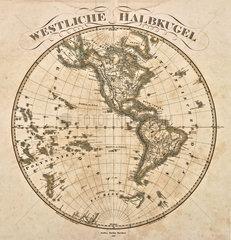 Westliche Halbkugel  Landkarte  1860