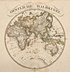 Oestliche Halbkugel  Landkarte  1860