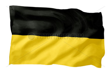 Landesfahne von Baden-Wuerttemberg (Motiv A; mit natuerlichem Faltenwurf und realistischer Stoffstruktur)