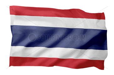 Fahne von Thailand (Motiv A; mit natuerlichem Faltenwurf und realistischer Stoffstruktur)