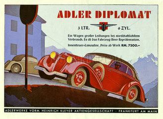 Adler Diplomat  Autowerbung 1934