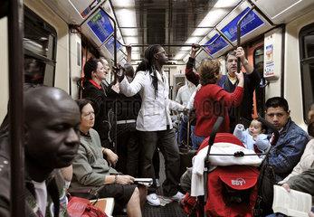 Szene in der U-Bahn von Madrid