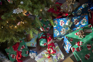Christmas gifts under Christmas tree
