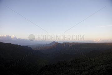 Clear sky over mountain range