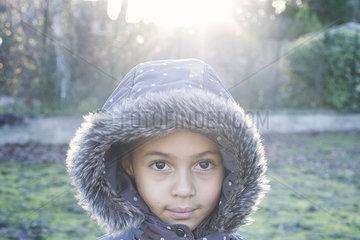Girl wearing hooded coat  portrait
