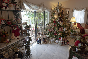 Home interior heavily decorated for Christmas