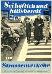 Kinder helfen Rentnerin ueber die Strasse  Plakat  1951
