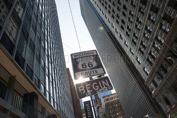 Sign marking the beginning of Historic Route 66 in Chicago  Illinois  USA