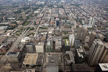Aerial view of Downtown Chicago  Illinois  USA