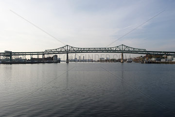 Tobin Bridge over Mystic River  Boston  Massachusetts  USA