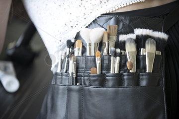 Makeup artist's brush pouch  close-up