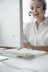 Saleswoman on telemarketing call