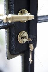 Key in door lock  close-up