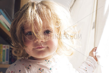 Little girl with messy hair  portrait