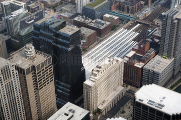 Aerial view of skyscrapers in Chicago  Illinois  USA