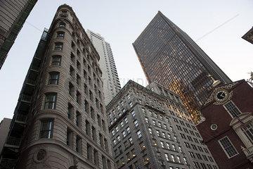 Historic buildings and modern skyscrapers in Boston  Massachuesetts  USA