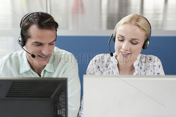 Telemarketers working in call center