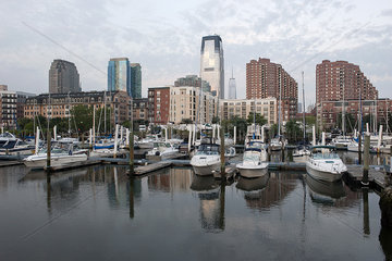 Boats docked in marina along waterfront  Jersey City  New Jersey  USA