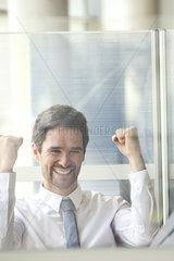 Businessman exhibiting exuberance