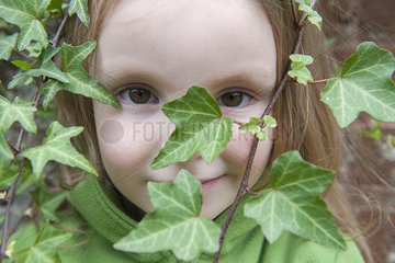 Little girl looking through ivy  close-up