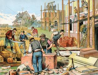 Hausbau  Handwerker  1885