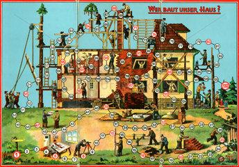 Baustelle  Hausbau  Gesellschaftsspiel  um 1932